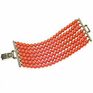 Coro Pegasus 7 Strand Coral Color Bead Bracelet (Image1)