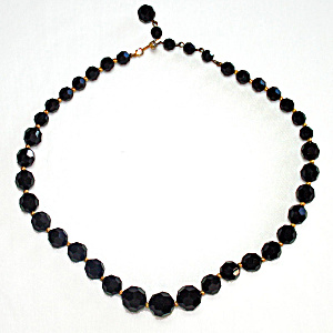 Marvella Elegant Black Cut Crystal Choker Length Necklace