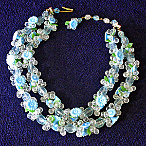 Blue Green West Germany 2 Strand Flower Necklace Fruit Salad