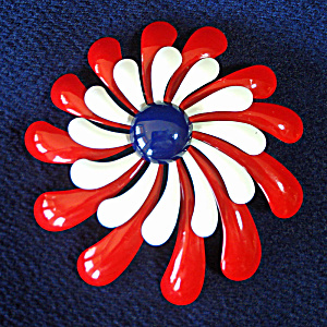 Red White Blue 60s Mod Flower Power Pin Brooch Spiral Petals