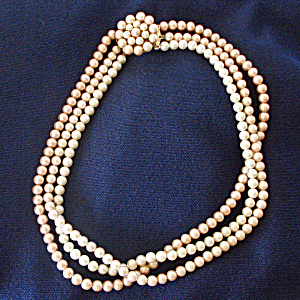 Triple Strand Tri Color Pink Beige Faux Pearl Necklace