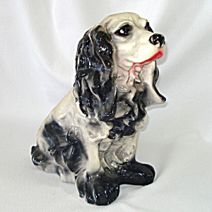 Chalkware Black Cocker Spaniel Dog Large Bank Figure (Image1)