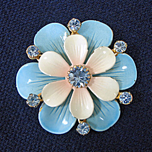 Enamel Rhinestones Double Layer Blue Flower Brooch Pin