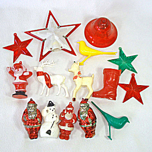 Lot 1950s American Made Hard Plastic Christmas Ornaments