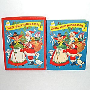 1953 Christmas Pop Up Santa Mother Goose Book In Box With Toys (Image1)