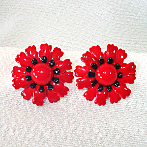 Red Black Flower Enameled Sixties Mod Clip Earrings