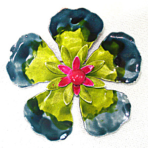 Mid Century Layered Enamel Flower Brooch Pin