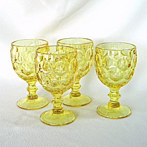 Imperial Provincial Whirlpool 4 Yellow Water Goblets