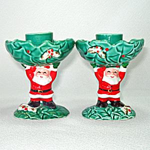 ec64f6545b88f Pair Napco Santa Claus And Holly Christmas Candlesticks
