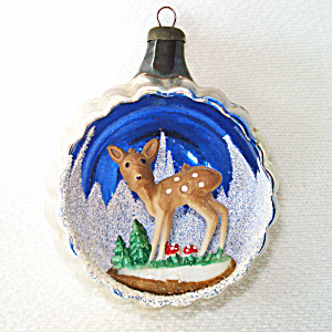Italy Fawn Deer Diorama Scene Indent Glass Christmas Ornament (Image1)