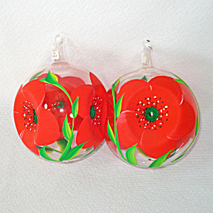 Italian Blown Glass Triple Indent Flower Christmas Ornaments