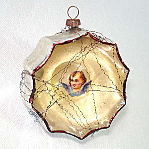 German Mercury Glass Angel Bubble Indent Christmas Ornament (Image1)