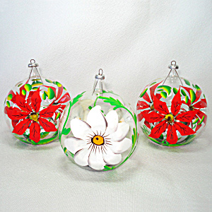 Blown Glass Italy Mercury Bubble Indent Christmas Ornaments