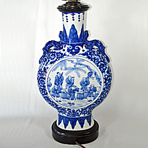 Norman Perry Blue White Chinoiserie Bottle Table Lamp