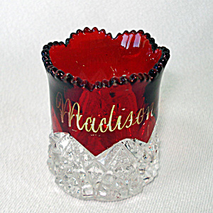 Eapg Ruby Stained Souvenir Toothpick Duncan Button Arches