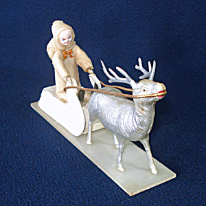 Cotton Batting Child On Sled Christmas Display With Reindeer