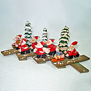 1950s Wooden Christmas Expansion Ornament Santas