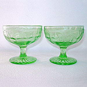 Hocking Cameo Ballerina Pair Green Depression Glass Sherbets