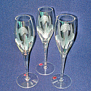 3 Romanian Floral Cut Crystal Flute Champagne Goblets
