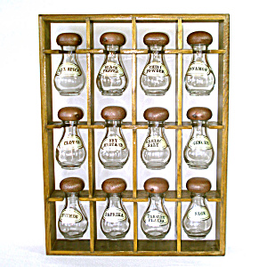 Hanging Wall Mount Kitchen Spice Rack 12 Glass Jars