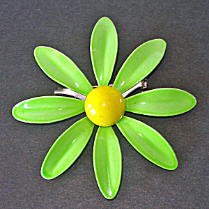 Green Yellow Daisy Flower Enameled Brooch Pin