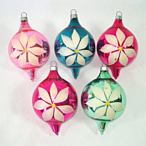 1930s Usa Blown Glass Christmas Ornaments Painted Flowers