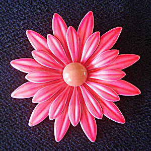 Big Hot Pink Daisy Enameled Flower Power Pin Brooch