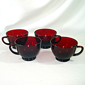 Royal Ruby Anchor Hocking 4 Punch Tea Cups (Image1)
