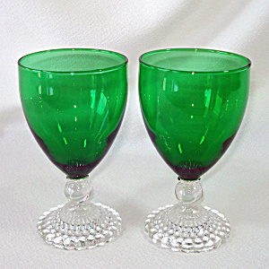 Anchor Hocking 2 Boopie Forest Green Water Goblets (Image1)