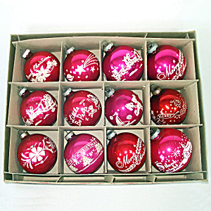 Box Shiny Brite Stencil Scene Glass Christmas Ornaments (Image1)