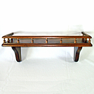 Mid Century Gallery Rail Wooden Wall Shelf