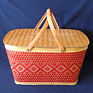 Red-man 1950s Woven Red Tan Picnic Basket