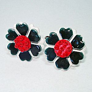 Enameled Metal Red White Blue Flower Clip Earrings