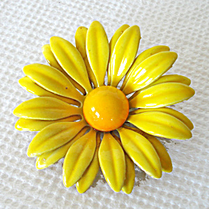 Yellow Daisy Enamel Flower Pin Or Brooch