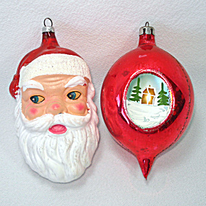 1950s Santa Face, Triple Indent Scene Glass Christmas Ornaments