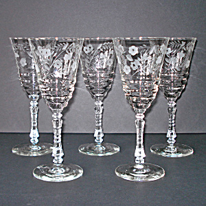 Libbey Rock Sharpe Crystal Halifax Water Goblets, Set Of 5