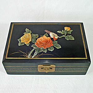 Asian Lacquered Jewelry Box Soapstone Flower Decoration