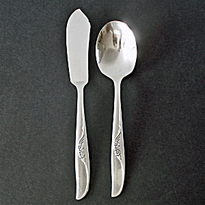 Jennifer Oneida Silverplate Sugar Spoon, Master Butter Knife