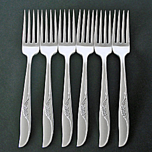 Jennifer Oneida 6 Silverplate Dinner Forks 1959