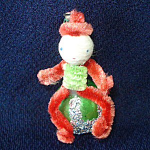 Christmas Elf Chenille Glass 1950s Corsage Pin