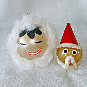 Mid Century Glass Eskimo, Santa Face Christmas Ornaments