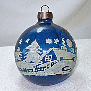 Cobalt Blue Stenciled Unsilvered Wwii Glass Christmas Ornament