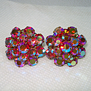 Red Aurora Rhinestone Cluster Clip Earrings