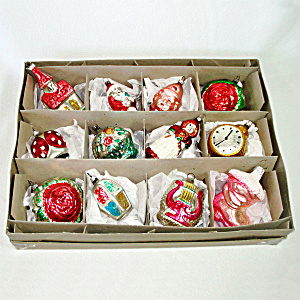 Box Figural Glass Christmas Ornaments German Czech