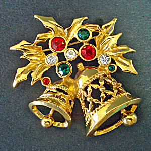 Christmas Bells Avon Goldtone Rhinestone Brooch Pin