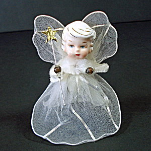Christmas Angel Ornament Porcelain Head, Wired Tulle Wings