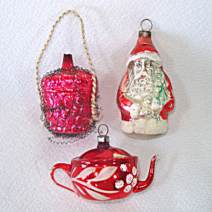 West German Teapot, Santa, Wired Basket Christmas Ornaments