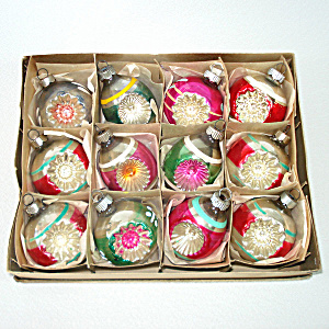 Box Shiny Brite 1950s Double Indent Glass Christmas Ornaments