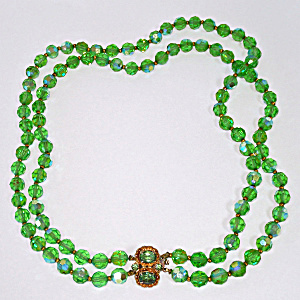 Green Ab Cut Crystal Two Strand Necklace