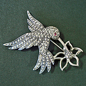 Avon Marcasite Hummingbird Flower Brooch Pin